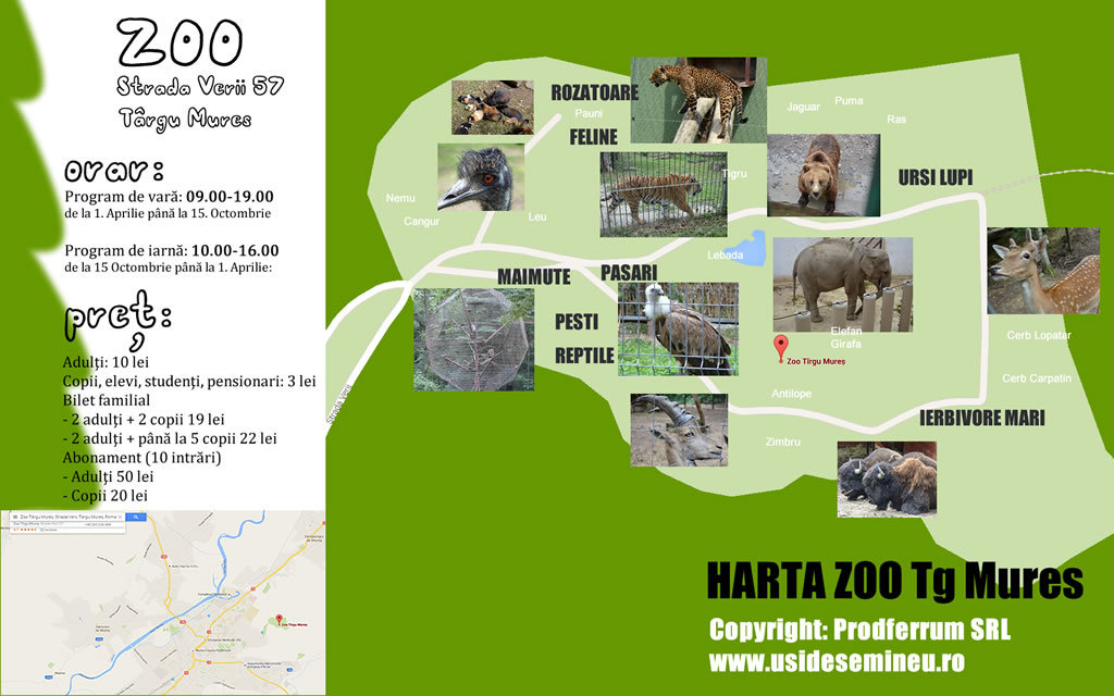 Harta Gradina Zoo din Targu Mures, via usidesemineu.ro